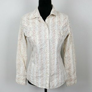 Womens Gap Small Floral Western Shirt Snap Buttons
